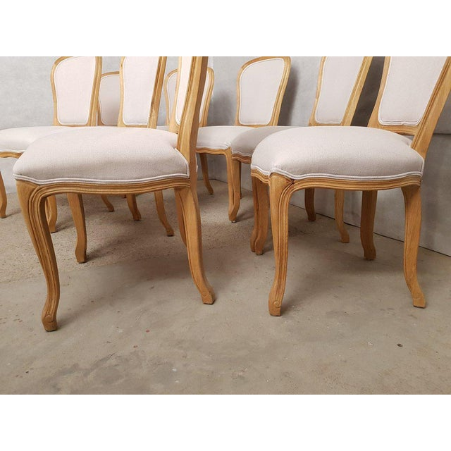 Set of 8 Louis XV French Natural Oak Dining Chairs Upholstered in Belgian Linen For Sale - Image 12 of 13