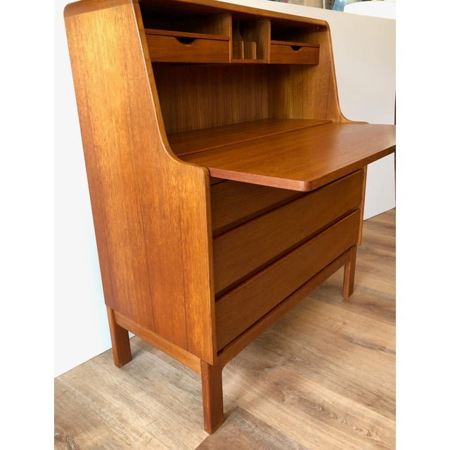 Vintage Danish Modern Teak Drop Leaf Secretary Desk For Sale In Seattle - Image 6 of 11