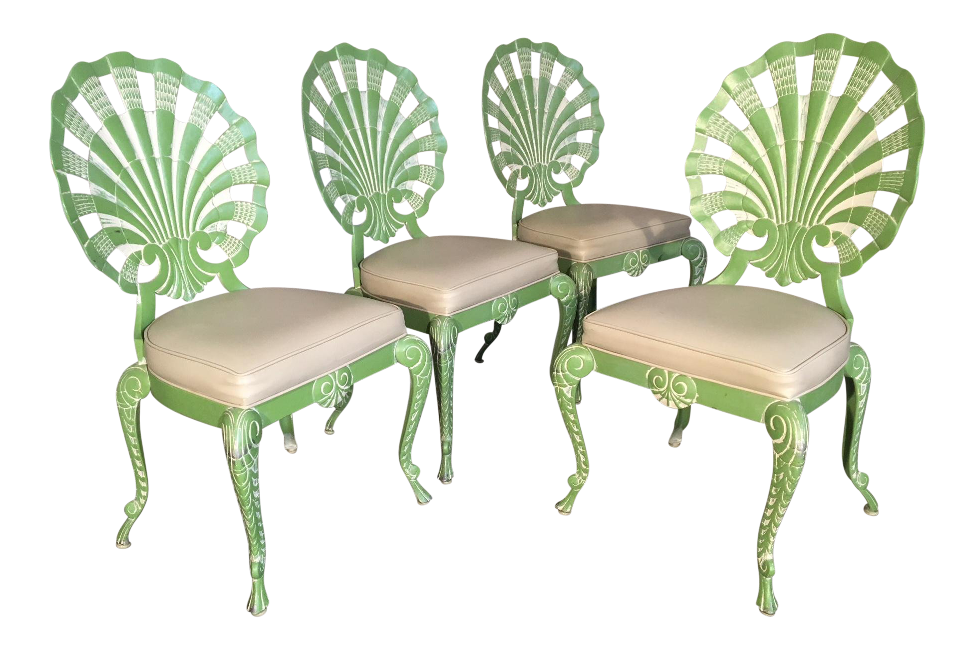 Set Of Four Shell Back Grotto Chairs In Cast Aluminium By Tropitone