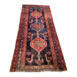 1940s Vintage Blue and Red Hand-Tied Persian Afshar Wool Runner - 3′10″ × 8′7″ For Sale