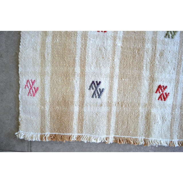 """Vintage Anatolian Braided Rug Hand Woven Cotton Small Rug Sofreh - 6'8"""" X 8'6"""" For Sale - Image 9 of 11"""
