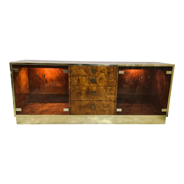 Founders Brass and Burl Credenza For Sale