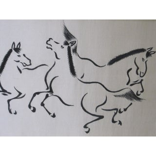 1960s Vintage Asian Style Dancing Horses on Silk Preview