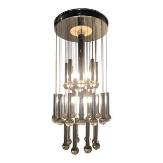 1970s Vintage Italian Sciolari Crystal & Chrome Chandelier For Sale