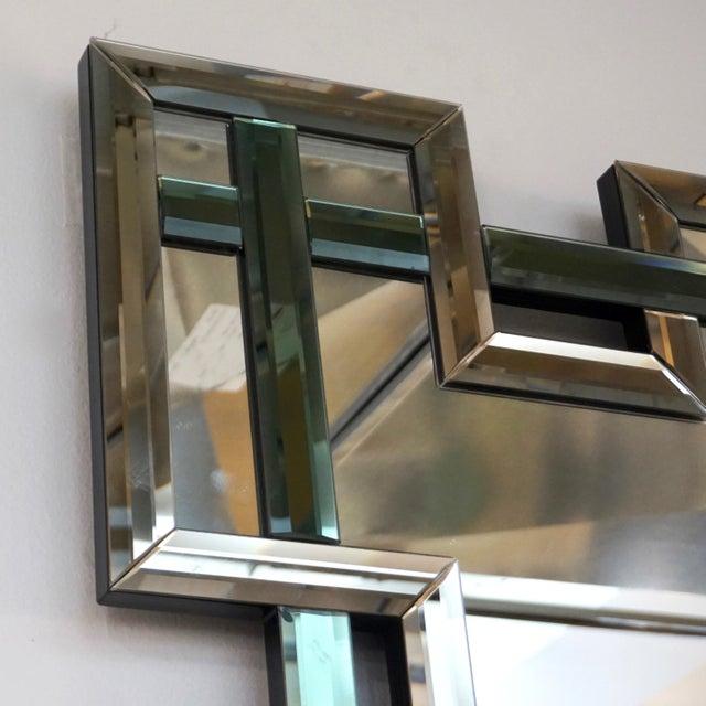 Contemporary Italian Geometric Murano Glass Mirror With Aqua Green Ribbon For Sale - Image 9 of 13