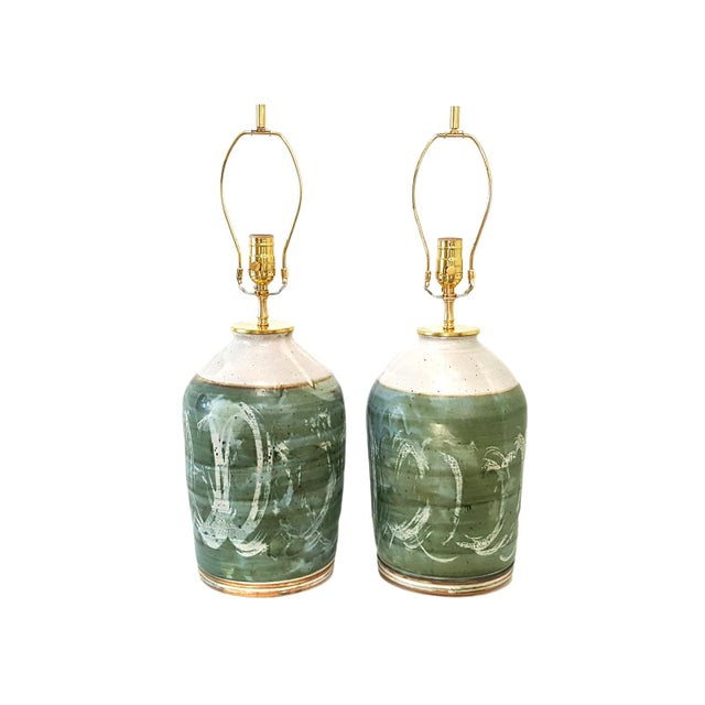 Vintage Green Studio Pottery Lamps - A Pair - Image 8 of 10