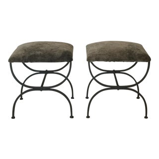 """Contemporary Design Frères Gray Shearling """"Strapontin"""" Stools - a Pair For Sale"""