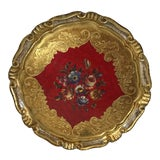 Image of Vintage Hand Painted Gold Italian Florentine Tray For Sale