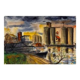 'The Delta King at Sunset,' 1995, California Paddlewheel Riverboat, Industrial Landscape For Sale