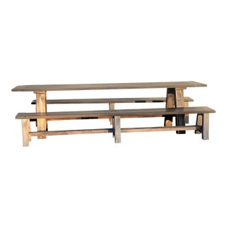 Rustic Table With 2 Benches - 3 Pieces For Sale