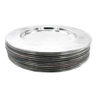 Mid-Century Silver Metal Alloy Dinnerware Plates - Set of 11 For Sale