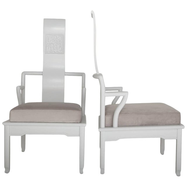 Low Asian Inspired Accent Chairs in the Manner of James Mont - A Pair For Sale
