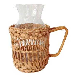 Wicker Carafe Pitcher For Sale