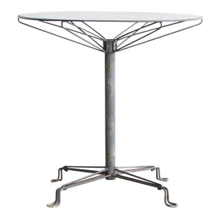 Mid Century Modern Glass and Steel Outdoor Table