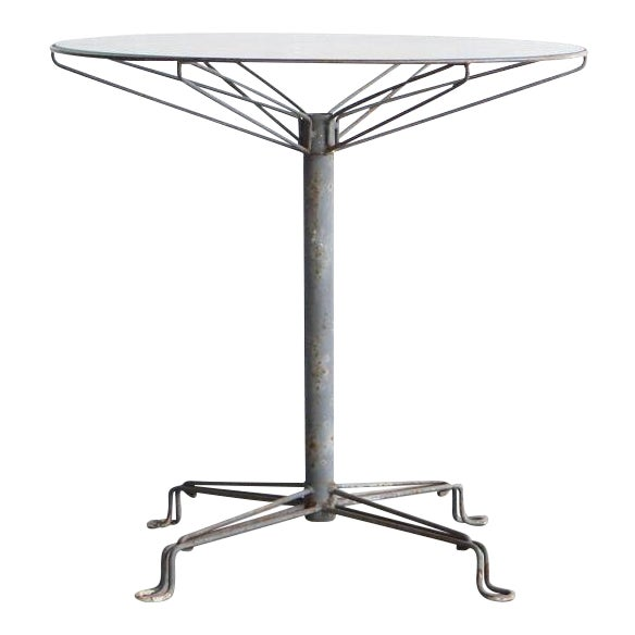 Mid Century Modern Glass and Steel Outdoor Table For Sale