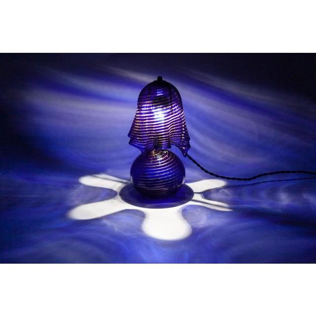 Italian Lamp La Murrina Murano Glass in Blue and Gold Swirl Reticcello, 1970s - Image 4 of 10