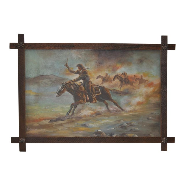 Vintage Cowboy Painting The Chase Is On By William Steiner