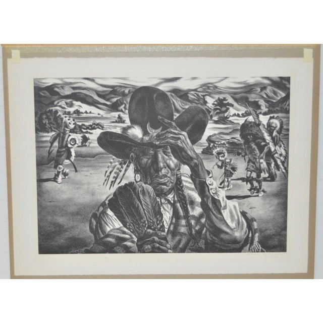 "1940 Vintage ""Comanche Portrait"" Pencil Signed Lithograph by Charles Banks Wilson - Image 2 of 6"
