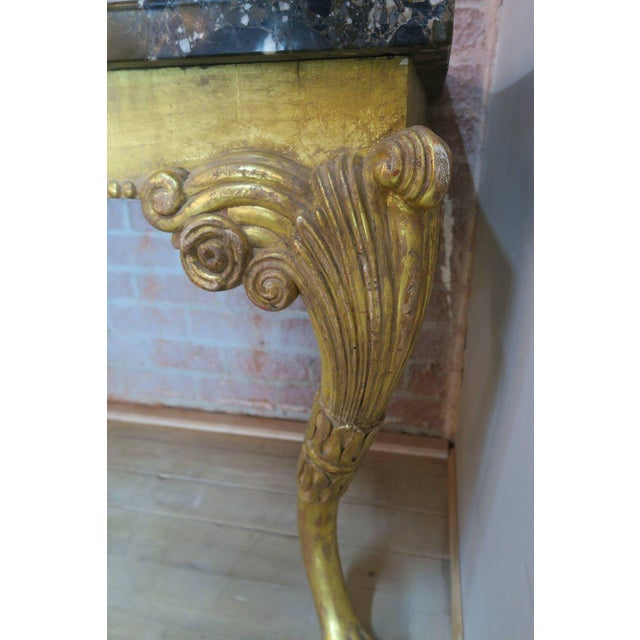 Gold Leaf Monumental French Gilt Wood Console With Marble Top $2,795 For Sale - Image 7 of 10
