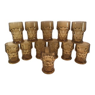 Mid-Century Amber Faceted Glasses - Set of 12 For Sale
