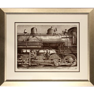 """Malcolm Childers """"Nevada Northern Freight #81"""" Train Hand Signed Etching Framed, 1980 For Sale"""