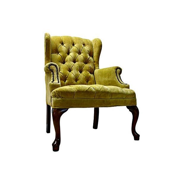 petite tufted wingback chair for sale image 5 of 7 - Tufted Wingback Chair