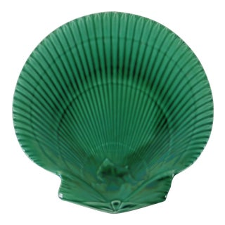 Wedgewood Green Majolica Shell Plate For Sale