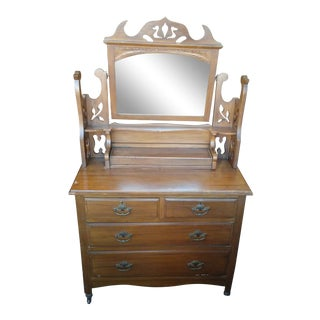 19th Century English Eastlake Oak Chiffonier Dresser For Sale