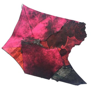 "Contemporary Abstract Mixed Media Painting ""Hot Pink Afghan Kite"" by Wesley Kimler"