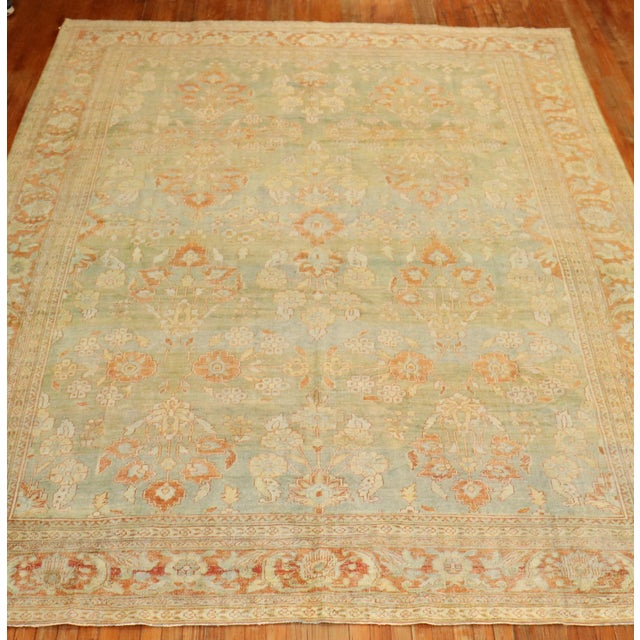 Pale Green Terracotta Antique Rug, 9'1'' X 12'7'' For Sale - Image 10 of 13