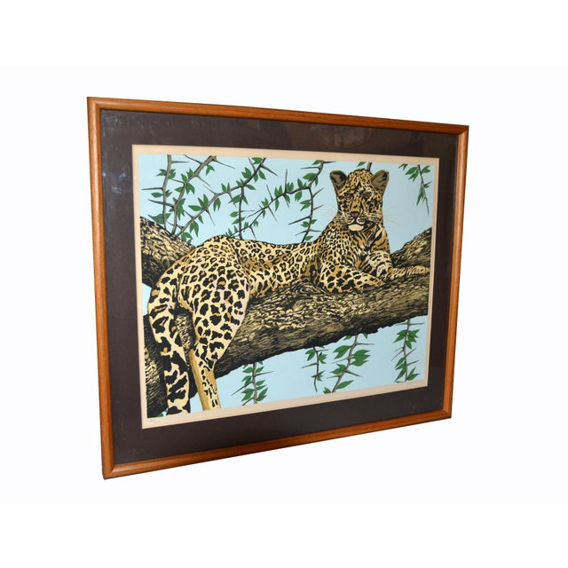 Mid-Century Modern Original Lithograph 'Cheetah' Signed by Artist Mac Couley For Sale - Image 3 of 13