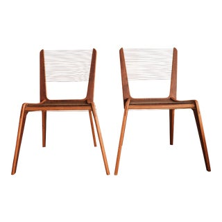 Vintage Mid Century Jacques Guillon Cord Chairs- a Pair For Sale