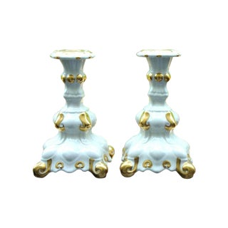 Holland Mold White & Gold Candle Holders - A Pair For Sale