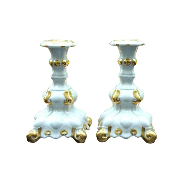 Holland Mold White & Gold Candle Holders - A Pair - Image 1 of 7