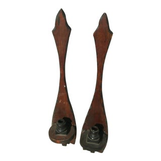 Wooden Gothic Revival Style Wall Candle Holders - a Pair For Sale