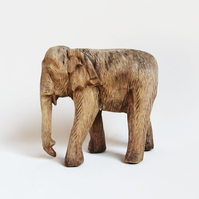 Asian Thai Wood Carved Elephant For Sale - Image 3 of 3