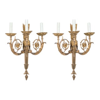 Pair of 19th Century Gilt Bronze Sconces For Sale