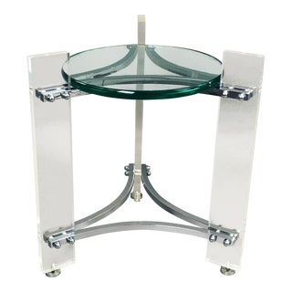 Charles Hollis Jones Chrome, Glass, and Lucite Side Table For Sale