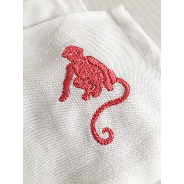 Pink Embroidered Monkey Cocktail Napkins - Set of 6 - Image 4 of 4