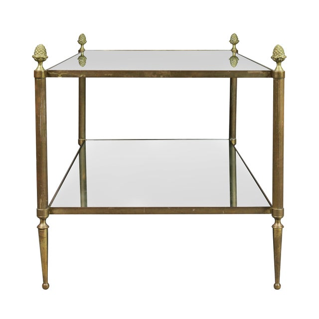 Transparent Jansen Style Brass and Mirrored Coffee Table For Sale - Image 8 of 9