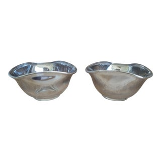 Vintage Dorothy Thorpe Silverfade Glass Snack Bowls - a Pair