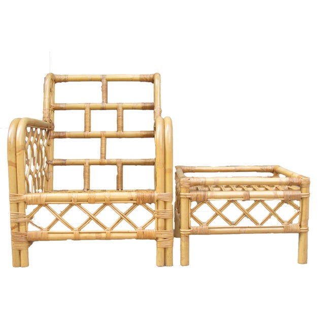 Ficks Reed Bamboo Chair & Ottoman / Side Table For Sale - Image 5 of 6