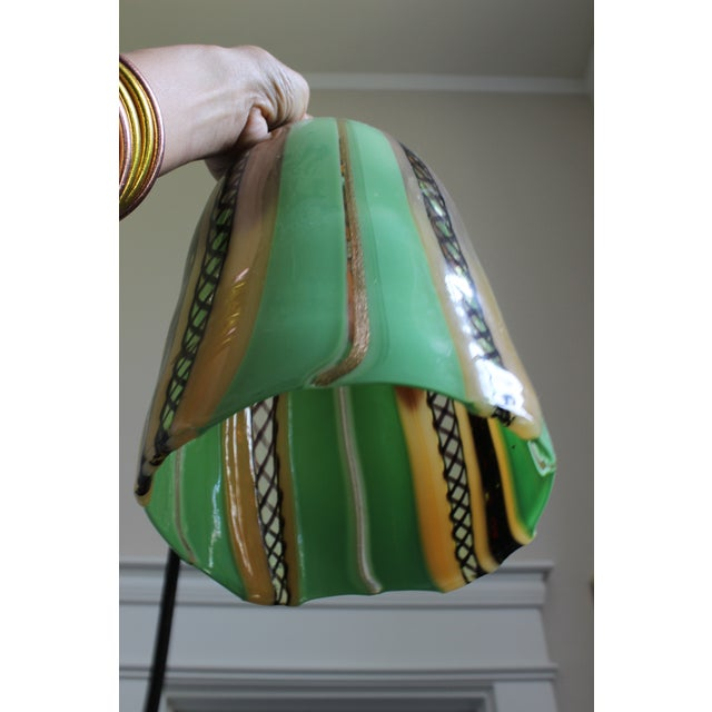 Oggetti Luce Art Deco Venetian Mouth Blown Glass Pendant Light For Sale In Columbus - Image 6 of 7