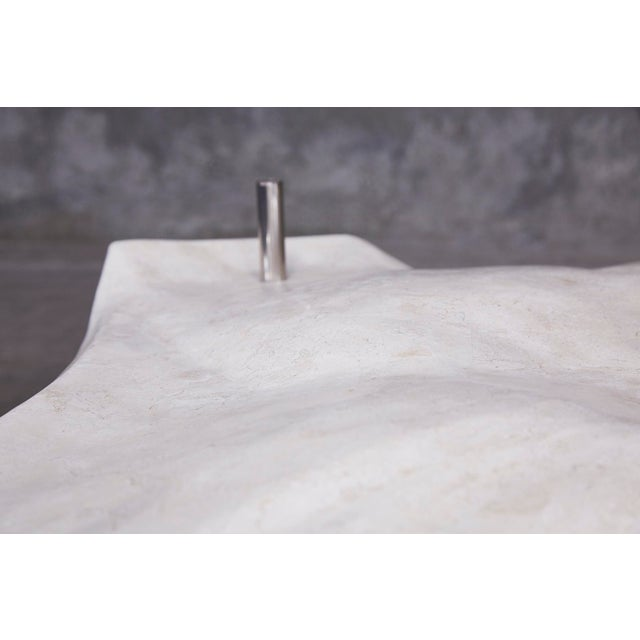 """White 1990s Post-Modern Tessellated Stone """"Chiseled"""" Cocktail Table For Sale - Image 8 of 13"""