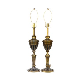 Art Deco Brass Table Lamps by Stiffel, a Pair For Sale