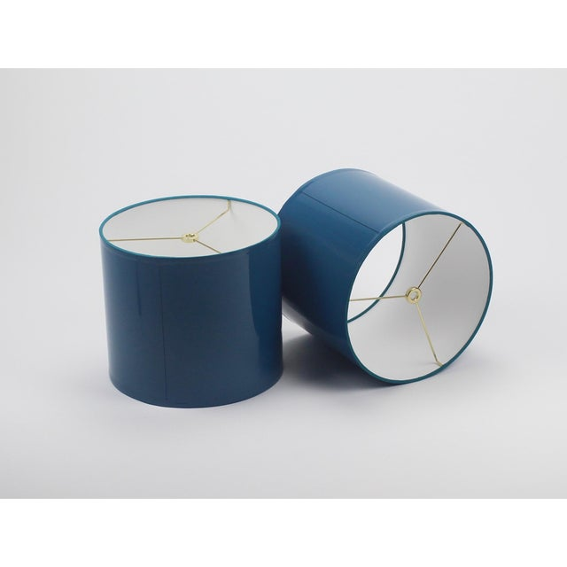 Lampshade Designs Small High Gloss Teal Lampshades - a Pair For Sale - Image 4 of 4