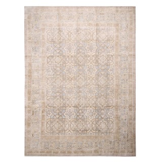 "Contemporary Oushak Beige Silk Rug-9'x12'4"" For Sale"