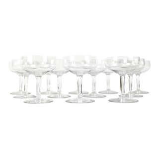 Vintage Set 12 Baccarat Crystal Champagne Coupes For Sale