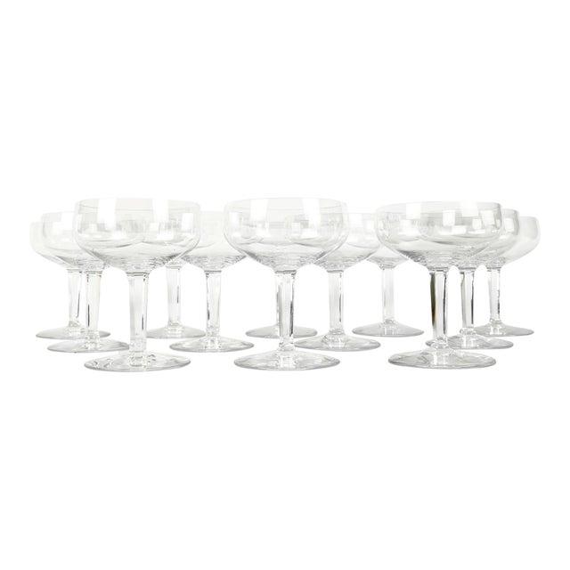 Vintage Set 12 Baccarat Crystal Champagne Coupes For Sale