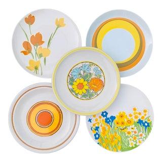 Vintage 1970s Mismatched Chop Plates orLarge Dinner Plates - Set of 5 For Sale